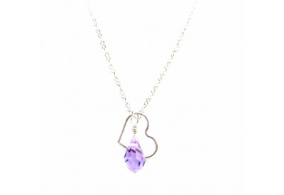 floating heart necklace - alexandrite (light violet)